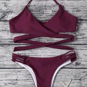 Strappy Halter Wrap Bikini Set NWOT
